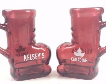 Set of 2 Kelseys Molson Canadian Beer Red Skate Glass Boot Drinking Mugs Barware