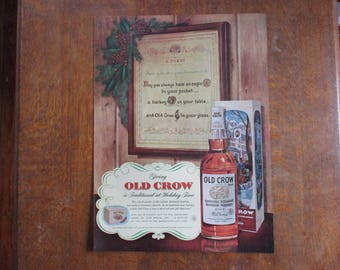 1956 Original Vintage Old Crow Kentucky Straight Bourbon Whiskey ad