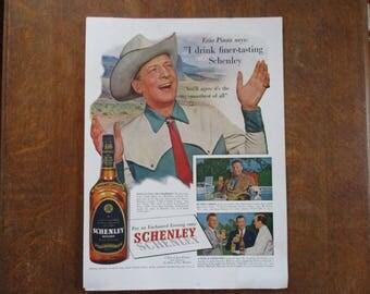 1951 Original Vintage Schenley Reserve Blended Whiskey ad