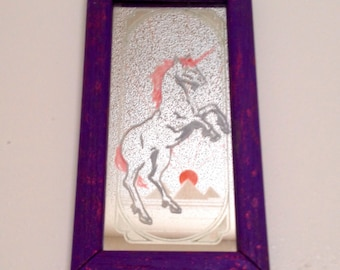 Unicorn/pyramid etched mirror