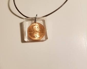 Resin necklace copper penny fun unique