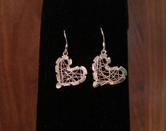 Sterling Heart Wire Earrings-  Lightweight Earrings- Silver Dangle Earrings - Gothic- Romantic Gift - Anniversary Gift- Tied up with Love-