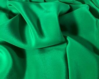 "4.5yd Remnant 100% Silk Crepe De Chine (lightweight) 44""w Bright Green"