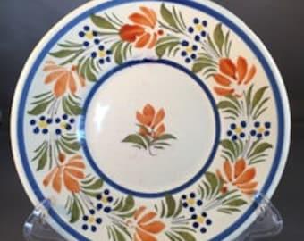 Quimper Blue Trim Floral Plate