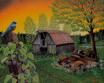 Time Gone By print, old barn and rusty car in country