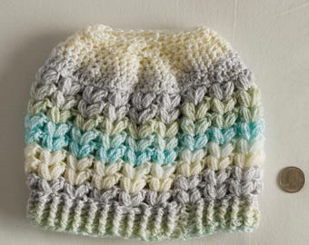 Messy Bun, V Puff Stitch Beanie hat, fun and stylish