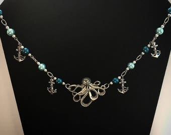 Handmade octopus and anchor beaded necklace