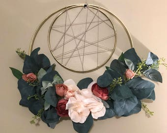 Gold ring hoop wreath | Boho | dream catcher | blush | modern | macrame hoop |home decor