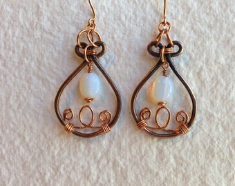 Filigree copper earrings