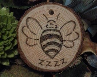 Personalised Pyrographed Bumblebee Keyring or Ornament