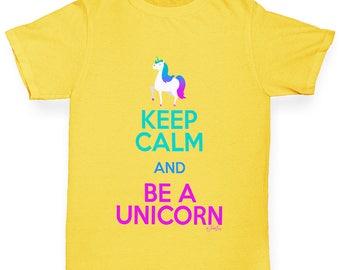 Boys Funny Tshirts Keep Calm And Be A Unicorn Boy's T-Shirt