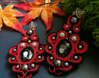 Beautiful Handmade Soutache Earrings Statement Elegant Dangle Drop Earrings Black Crystal Silver Beads Red Earrings