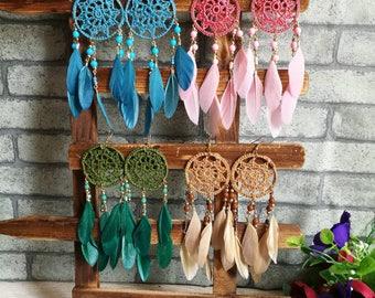 Ethnic Tribal Boho Earrings  Dangle Drop Unique Chic Dream Catcher Feather Beads Earrings Bohemain Indy Statement Earrings