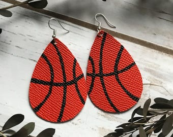 Basketball Orange Leather Teardrop Earrings