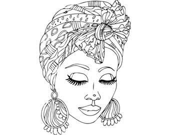 Black Queens Coloring Book Black woman clipart Etsy