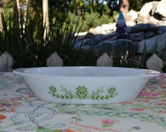 """Vintage Glasbake Green Daisy Trim, 12"""" x 8.5"""" Oval Divided Baking Dish & One Pearl/White"""