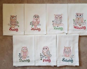 Owls Days of the Week Embroidered Flour Sack Dish Towels