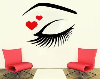 Wall Decal Window Sticker Beauty Salon Woman Face Eyelashes Lashes Eyebrows Brows t47