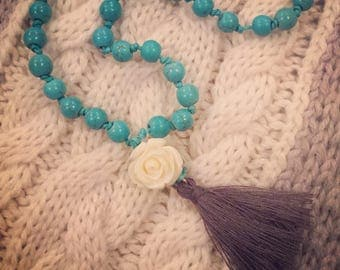 Turquoise and Rose Hand Knotted Mala with Tassel