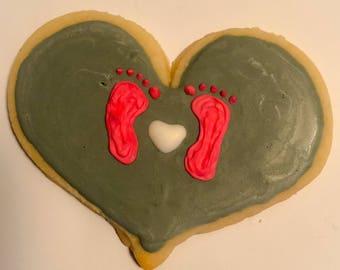 Baby feet sugar cookies
