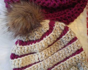 Crocheted Winter Hat and Scarf set