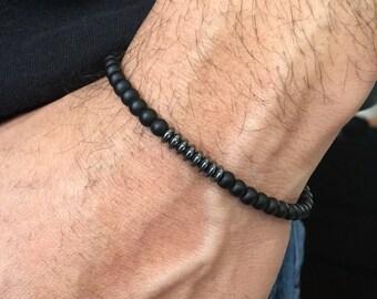 Men's Bracelet - Mens Beaded Bracelet - Men's Black Bracelet - Men's Jewelry - Boyfriend Gift - Husband Gift - Men's Gift - For Him
