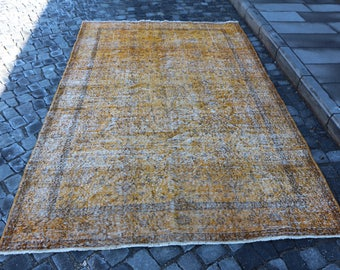 Overdyed Rug Free Shipping Yellow Rug 3.7 x 9.2 ft. large size rug, pale color overdyed rug, livingroom rug, anatolian rug, floor rug MB289