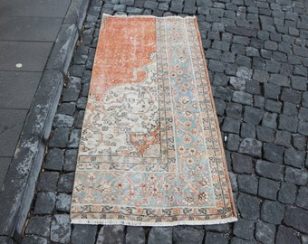 Orange rug Free Shipping bohemian rug 2.4 x 5.3 ft. runner area rug rustic rug anatolian rug low pile rug cultural rug nomadic rug MB397