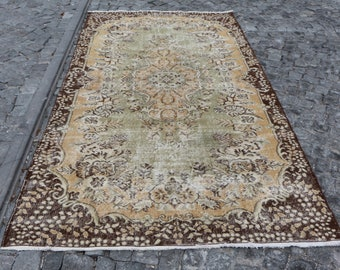 Bohemian area rug, 5 x 9.2 ft. Free Shipping handknotted area rug, nomadic area rug, pale color anatolian rug, faded rug, turkish rug MB489