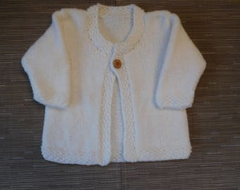 little girl warm Wool Cardigan in ecru