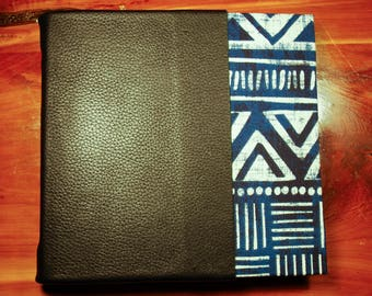 Hardcover Blue White Journal with a Black Leather Spine