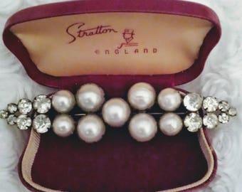 "Antique Edwardian faux pearl paste 3"" bar brooch"