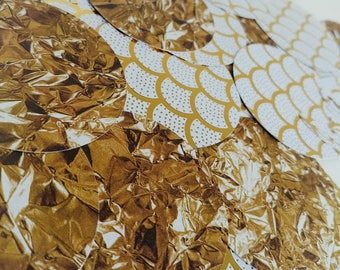 Gold and white confetti, gold and white celebration confetti, large gold and white confetti, white and gold bridal shower confetti, love