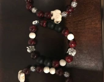 Handmade - Delta Sigma Theta Bracelets-Elephants, Beads, and Charms Set