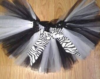 Zebra Print Black And White Double Layer Tutu