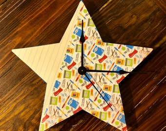 "Teacher Star Clock 10"" Star clock ~ Teacher Gift Home Decor ~ Pencil and Paper Clock"