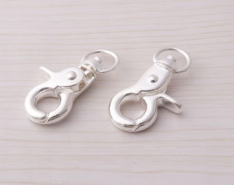 10pcs Swivel Clasps Lobster Swivel Clasps Trigger snap hooks Swivel Hooks Silver Metal Swivel Lobster Clasps
