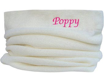 Girl's Personalised Name Design Winter Snood Scarf