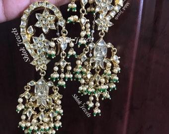 Kundan jadau Earcuff (earrings) with fish shape design & pearls hanging