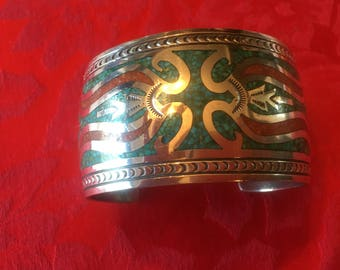 Sterling Silver Cuff Ban with Turquoise Mosaic Inlay