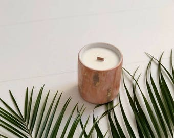Natural soy candle with mess pattern,   organic soy wax ,candles in cement vase, beton, concrete, essential oils, boho, handpoured, vegan