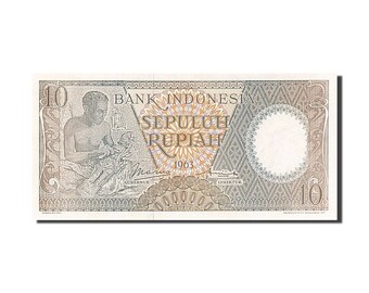 indonesia 10 rupiah 1963 km #89 unc(65-70) hcq 032523