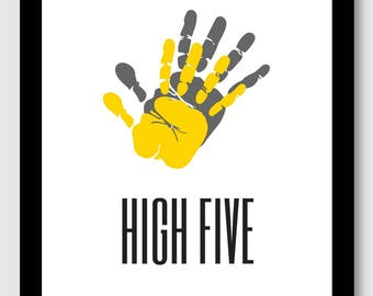 HIGH FIVE- modern art, yellow and grey hands graphic, encouraging words