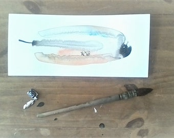 Single feather painting - watercolor Illustration ink on paper - Meditation, age, love, Lifetime fuchia