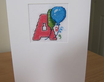 Cross Stitched card Letter A