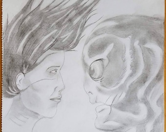 Shape of Water pencil sketch