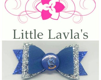 Ravenclaw Blue and Silver Glitter Bow - Lovely for any Harry Potter fan!