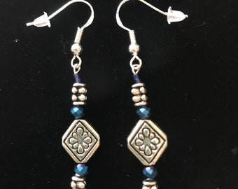 Sparkly Beautiful Blue Swarovski Crystals and other Quality Material Earrings