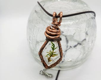 Rustic Copper and Fern Pendant