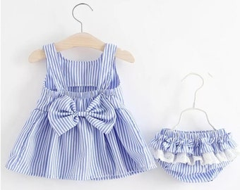 Blue and white dress and frilly knicker set